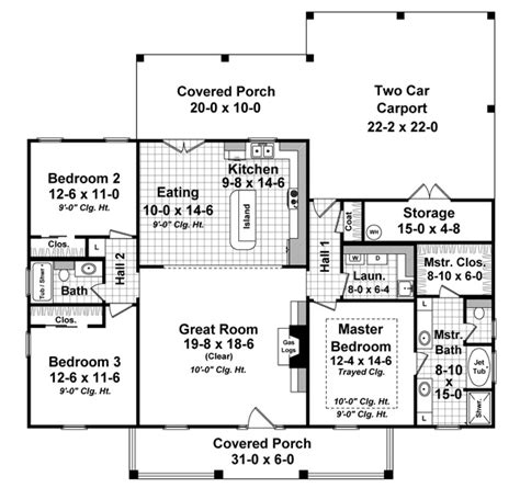 single story house plans without garage 3 bedrm 1640 sq ft country house plan 141 1243