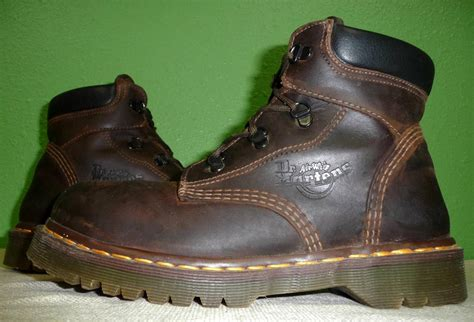 doc martens work boots doc martens steel toe brown leather padded collar lace up