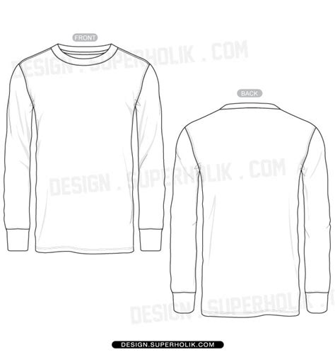 Long Sleeve Jersey Template Blank Long Sleeve T Shirt Template Fashion Design Templates Vector Fashion Design T Shirt Templates