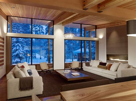 modern home living room modern mountain home uses railroad avalanche shed design
