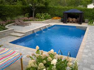 Geometric Shape Rug Rectangle Pool With Sheer Descent Water Feature