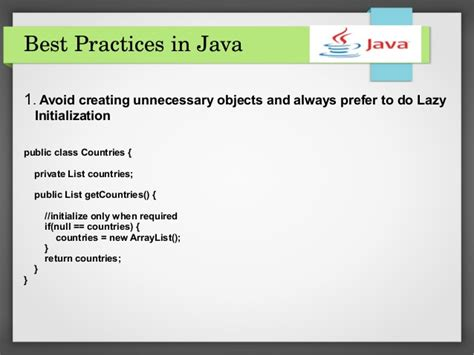 Best Practice 1 best practices in java