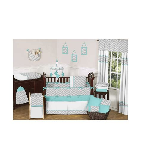 jojo crib bedding sweet jojo designs zig zag turquoise grey chevron 9