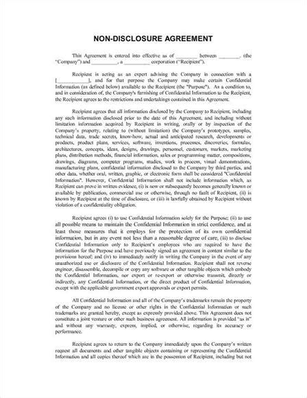 template non disclosure agreement 6 non disclosure agreement templates excel pdf formats