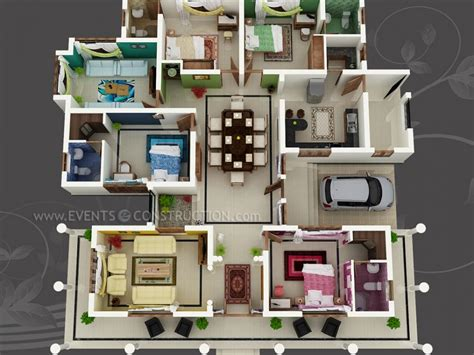 home plan design 3d big house with colour coded rooms 4 bed 4 bath sims