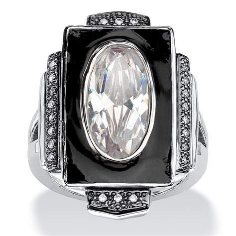 deco inspired rings palmbeach jewelry 4 91 tcw oval cut cubic zirconia deco inspired ring in silvertone shop