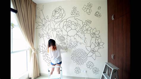 painting on wall floral a sharpie wall mural youtube