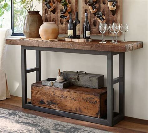barn console table griffin reclaimed wood console table pottery barn