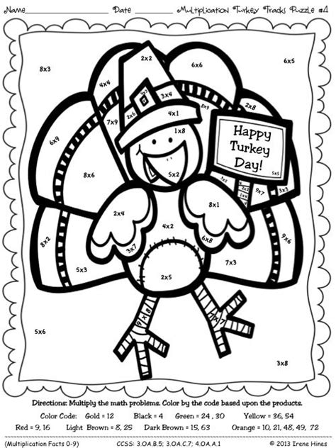 math coloring pages for thanksgiving multiplication turkey tracks feather facts math color