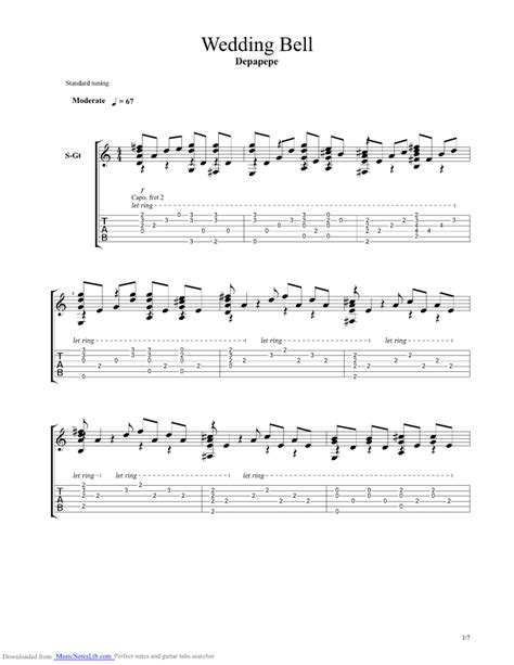 Wedding Bell Depapepe Tab Pdf wedding bell guitar pro tab by depapepe musicnoteslib