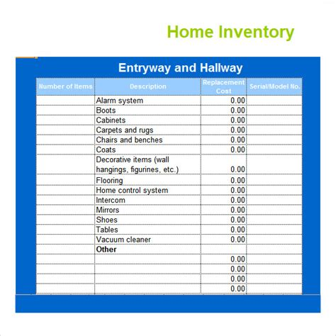 home inventory template inventory spreadsheet template 5 free documents