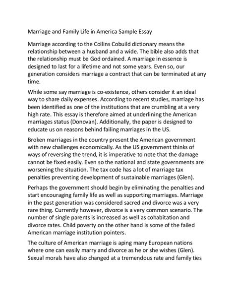 An Essay About Family by Marriage And Family In America Sle Essay