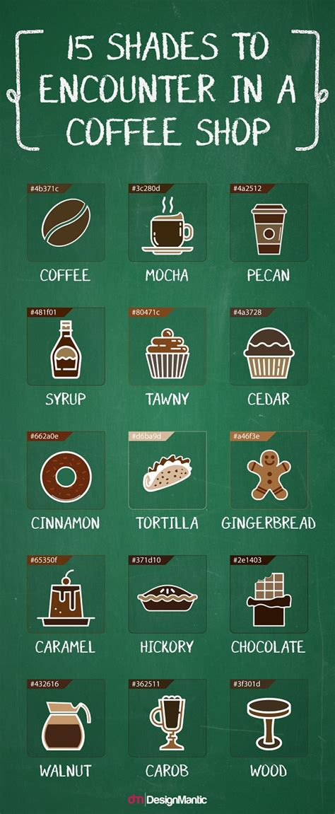 designmantic code infographic 15 shades of brown you ll encounter in a