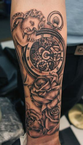 time piece tattoo cherub and time chris hatch artist