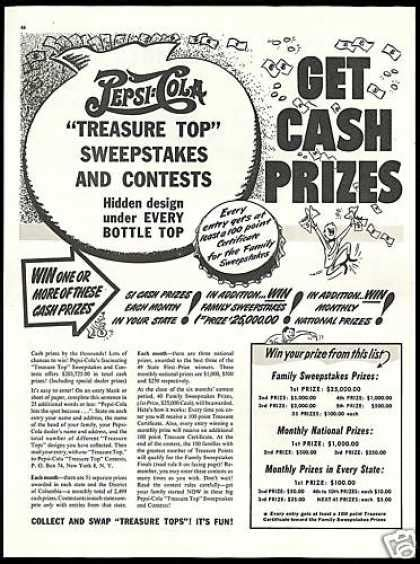 Pepsi Cola Sweepstakes - vintage drinks advertisements of the 1940s page 15