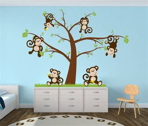 Monkey Decorations For Nursery Nursery Tree Decal With Monkeys Nursery Decor By Newyorkvinyl 52 00 Wittle Babiez