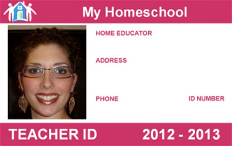 homeschool id card template school id card template free