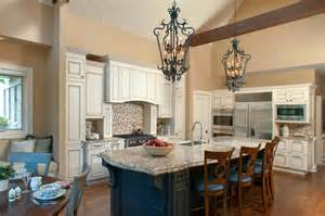 traditional kitchen with vaulted ceiling and faux wood