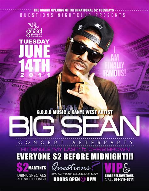club flyer design jobs big sean questions night club 6 14 11 flyer on behance