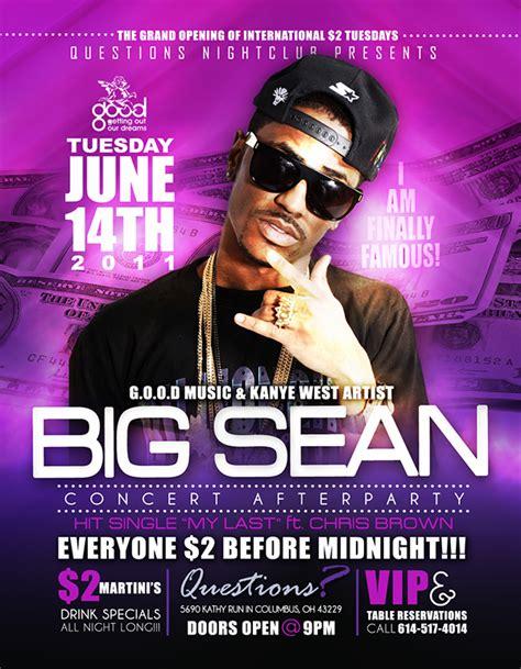 graphic design nightclub flyer big sean questions night club 6 14 11 flyer on behance