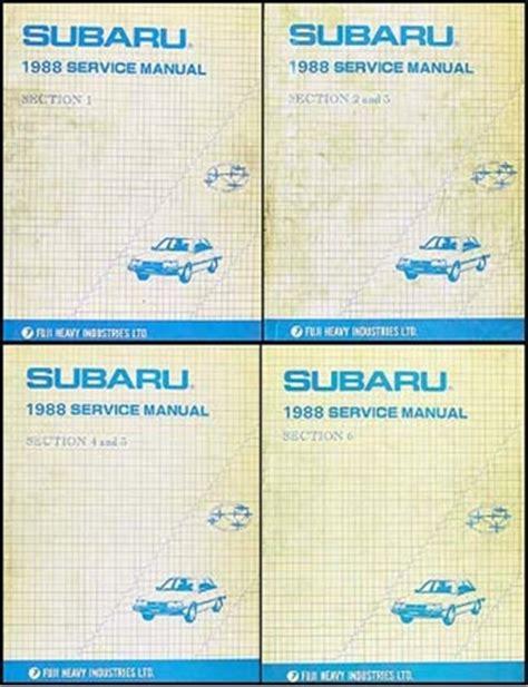 service manual car service manuals 1988 subaru leone service manual pdf 1988 subaru leone 1988 subaru repair shop manual original 6 section 4 book set dl gl rx brat