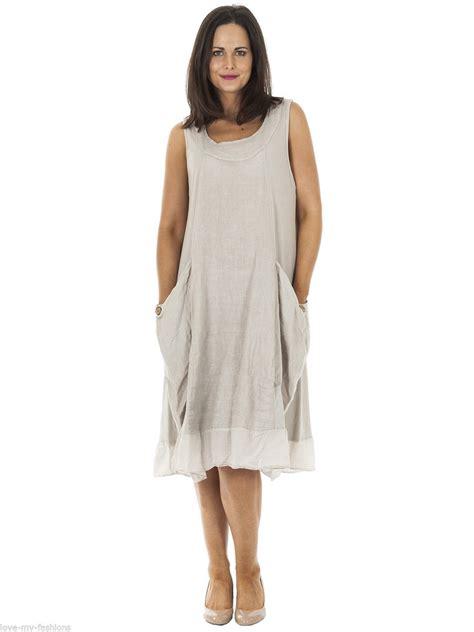 Sale Size L Wolli Dress Size L womens italian lagenlook ribbed pocket sleeveless linen
