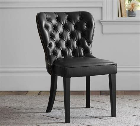 Black Tufted Dining Chair Coolidge Leather Wing Chair I Horchow