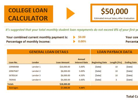 College Credit Tracker Template College Loan Calculator Office Templates