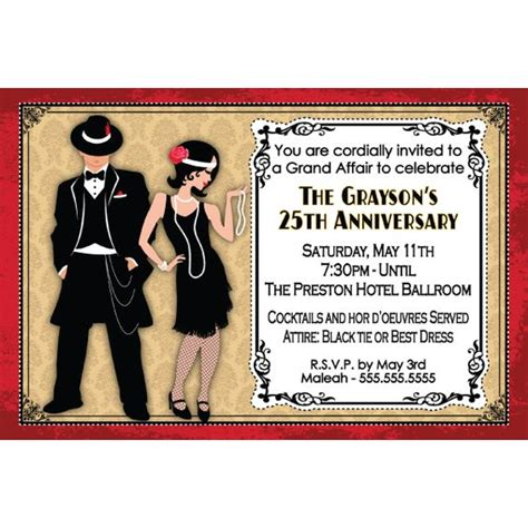 roaring 20s birthday invitations roaring twenties