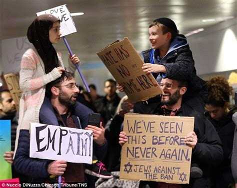 photo of jewish and muslim child united against trump ban