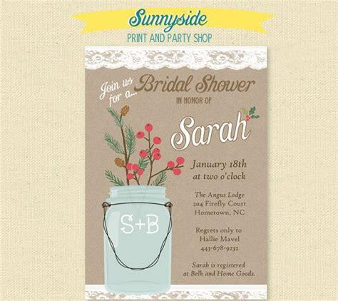 printable bridal shower invitation mason jar christmas mason jar bridal shower invitation with holly