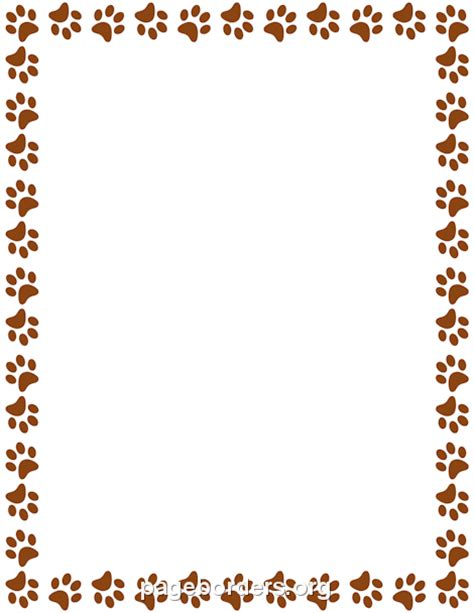 brown paw print border clip art page border  vector