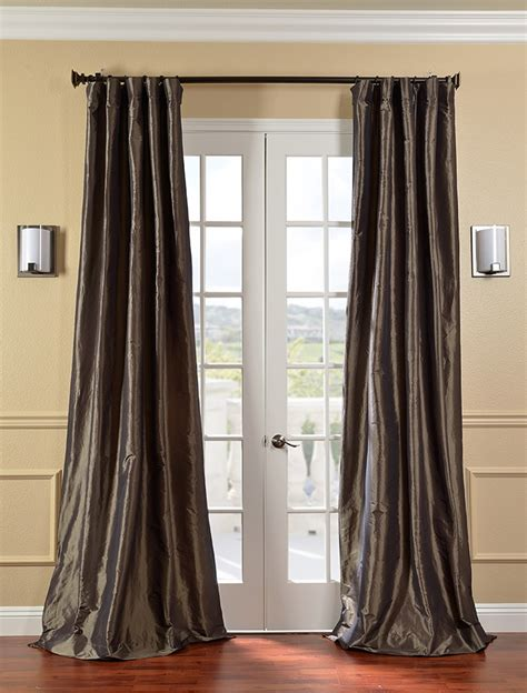 faux silk curtains mushroom faux silk taffeta curtains drapes ebay