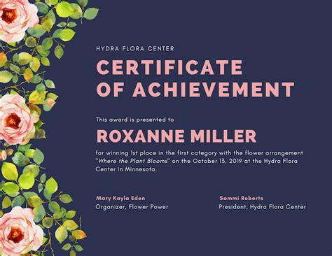 Flower Arrangement Ideas by Free Online Certificate Maker Design A Custom Certificate