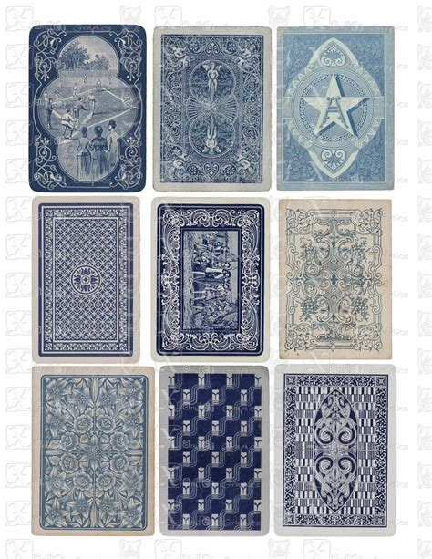 playing card print etsy vintage playing cards blue backs instant by xandergraphics