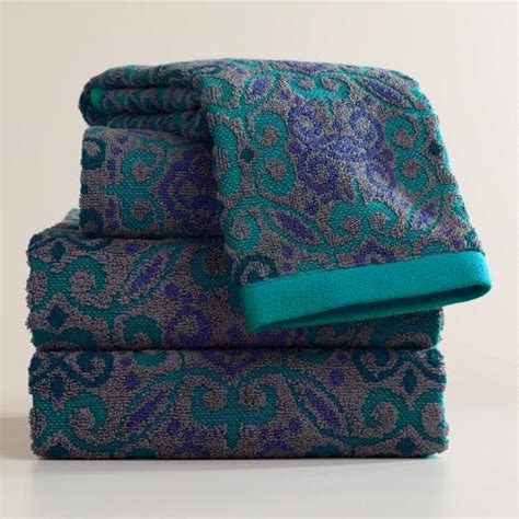 Teal and gray adriana medallion sculpted bath towel collection world market