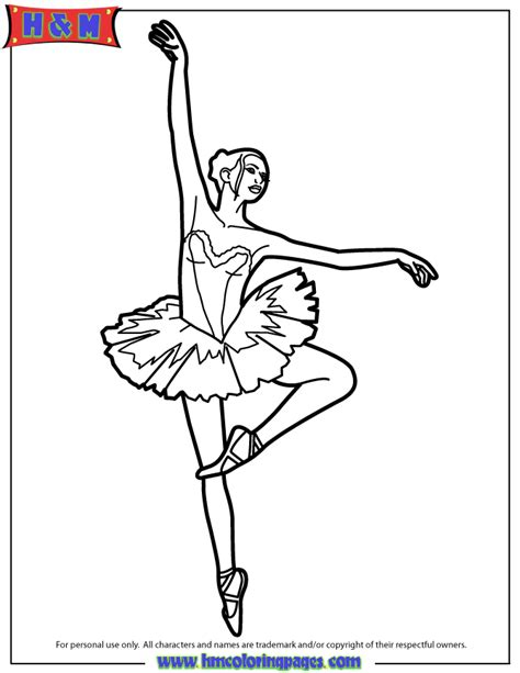 Ballerina In Ballet Performance Coloring Page H M Ballerina Colouring Pages