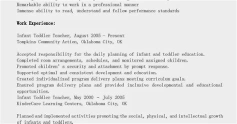 Resume Sle With Summary Of Qualifications Summary Of Qualifications For Child Resume Sles Infant Toddler Resume Sle Child Care