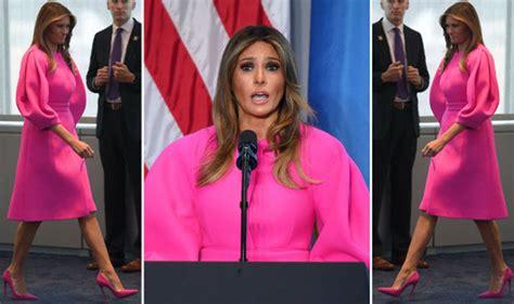 melania trump wears pink dress   lunch   york