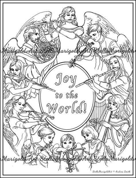 coloring pages of angels singing items similar to christmas coloring page angels singing