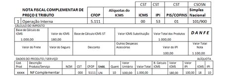 layout nf e complementar cfop 5111 nota fiscal complementar de valor cfop