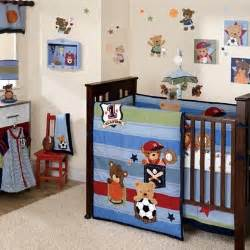 teddy sports crib bedding blue green and baby
