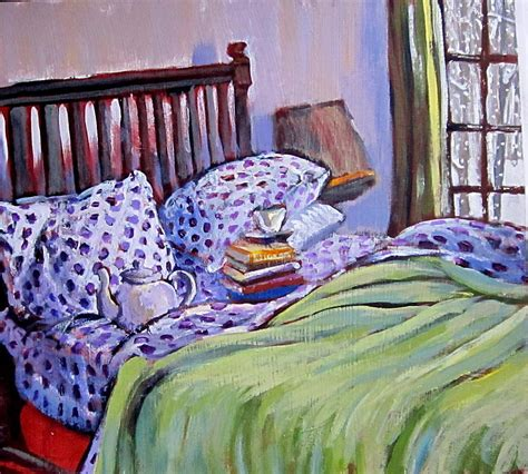 book bed bed and books painting by tilly strauss