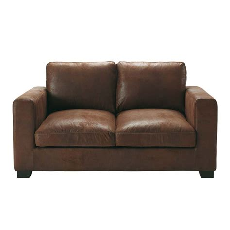 swade sofa 2 seater imitation suede sofa in brown kennedy maisons