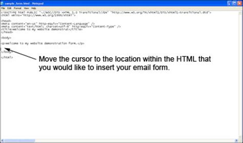 tutorial html in notepad using notepad to build an email form