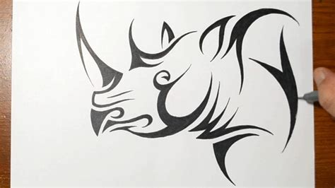 how to make a tribal tattoo how to draw a rhino tribal design style