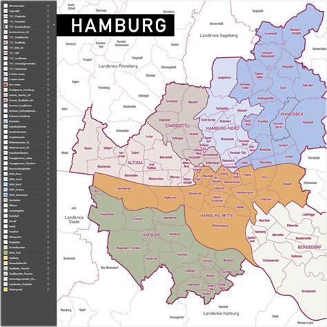 hamburg kart hamburg postleitzahlen karte plz 5 vektorkarte grebemaps