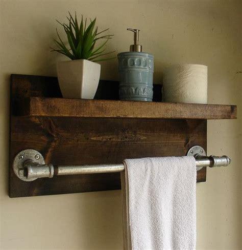 bathroom shelf with towel rack rustic industrial towel rack dwell beautiful