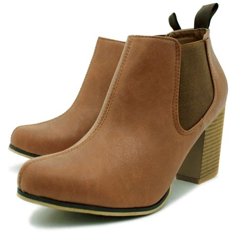 buy womens leather style chelsea block heel ankle boots