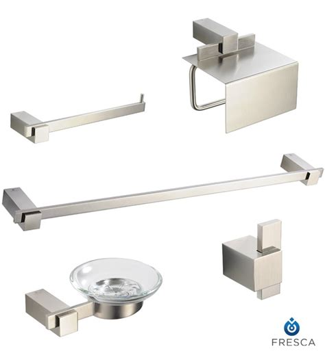 brushed nickel bathroom accessories set fresca fac1400bn ellite 5 bathroom accessory set in
